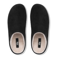 FitFlop Chrissie Shearling Black Slippers Top View