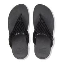 FitFlop™ Lottie Chevron Toe-Thongs Black top