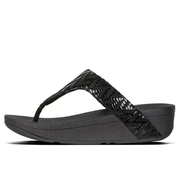 FitFlop™ Lottie Chevron Toe-Thongs Black side