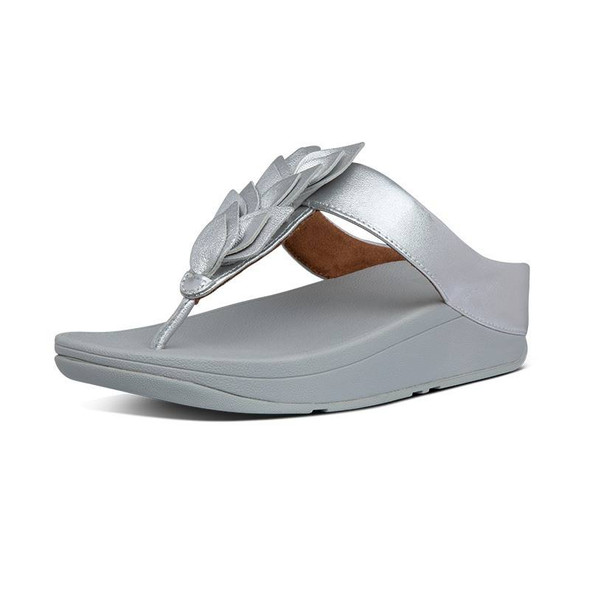 FitFlop Fino Leaf Toe-Post Silver