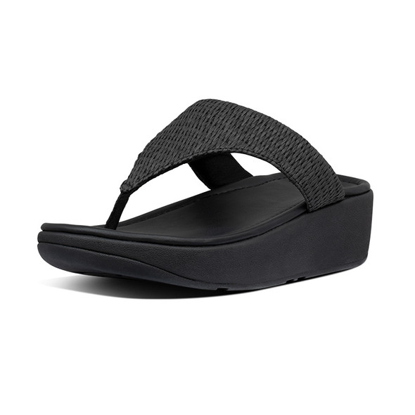 FitFlop Imogen Basket-Weave Toe-Post All Black