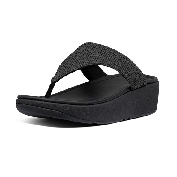 FitFlop Imogen Basket-Weave Toe-Post All Black