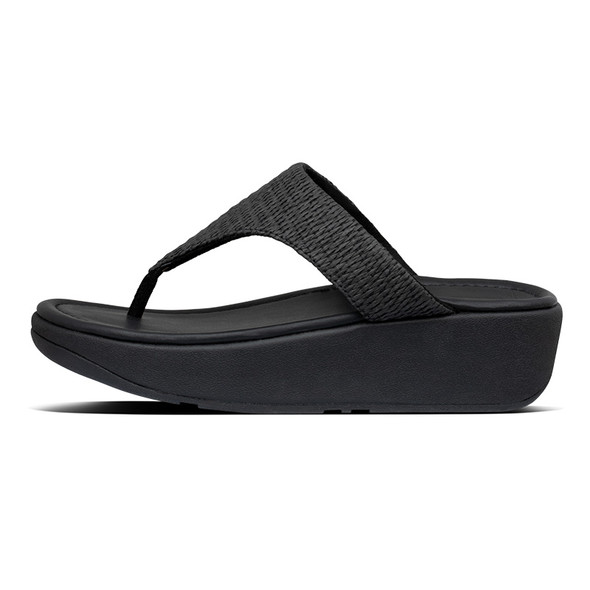 FitFlop Imogen Basket-Weave Toe-Post All Black side