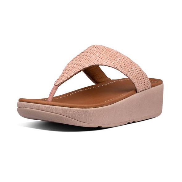 FitFlop Imogen Basket-Weave Toe-Post Soft Pink