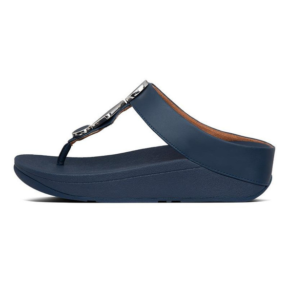 FitFlop Leia Leather Toe-Post Navy side