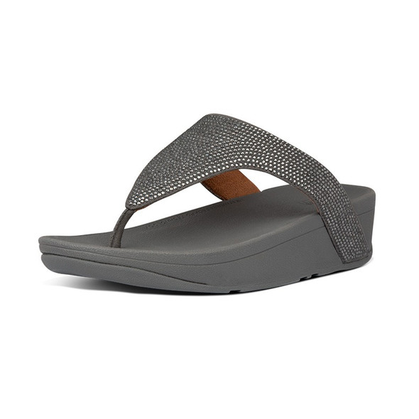 FitFlop Lottie ShimmerCrystal Toe-Post Pewter
