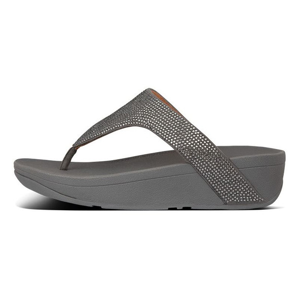 FitFlop Lottie ShimmerCrystal Toe-Post Pewter side