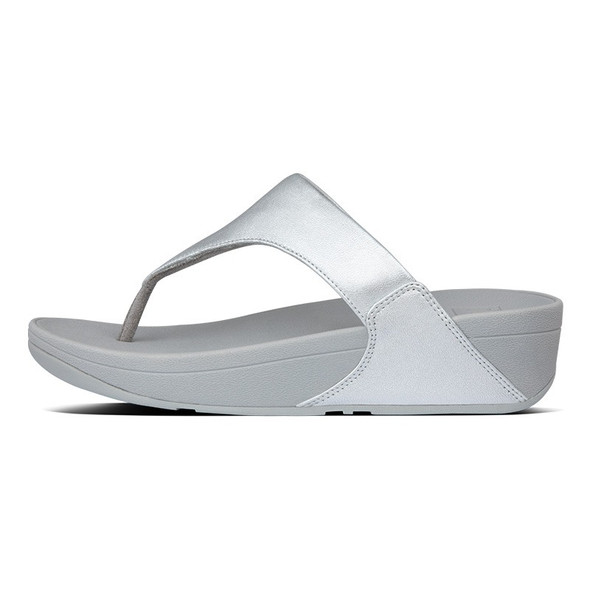 FitFlop Lulu Leather Toe-Post Silver side