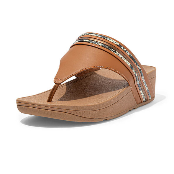 FitFlop Olive Snake Trim Toe Post Tan