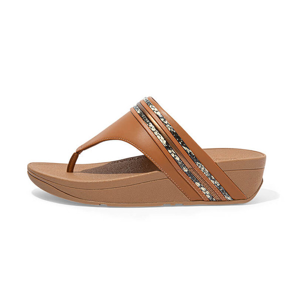 FitFlop Olive Snake Trim Toe Post Tan Side