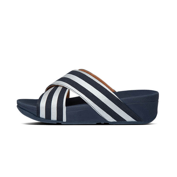 FitFlop Lulu Metallic Stripe Slide Navy Side