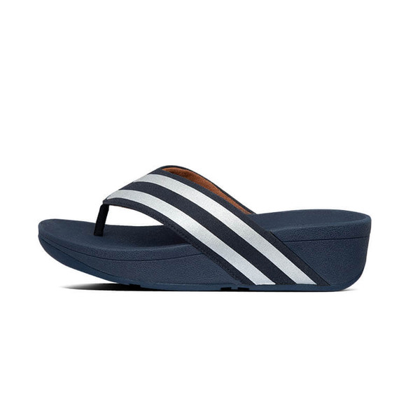 FitFlop Millie Metallic Stripe Toe Post Navy Side