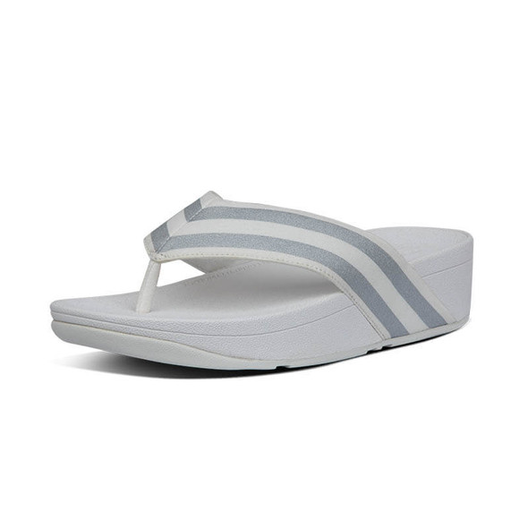 FitFlop Millie Metallic Stripe Toe Post White