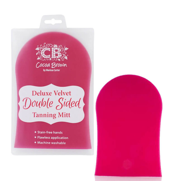Cocoa Brown Deluxe Velvet Tanning Mitt Double Sided