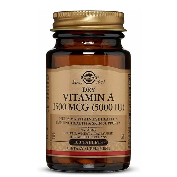 Solgar Dry Vitamin A 5000 IU (1502 µg) - 100 Tablets