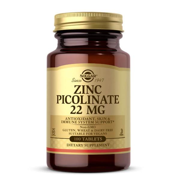 Solgar Zinc Picolinate 22 mg - 100 Tablets