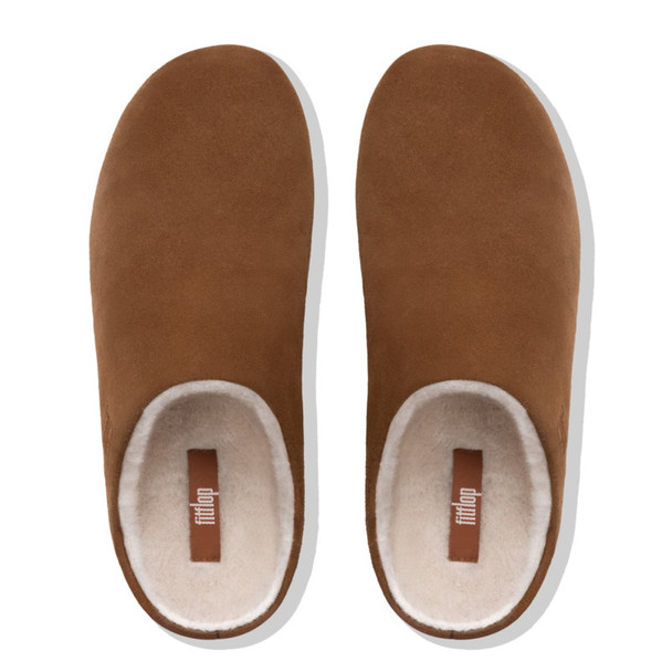 FitFlop Chrissie Shearling Tan Slippers Top View