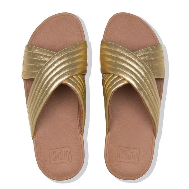 FitFlop™ Lulu Padded Metallic Cross Sandals Gold top