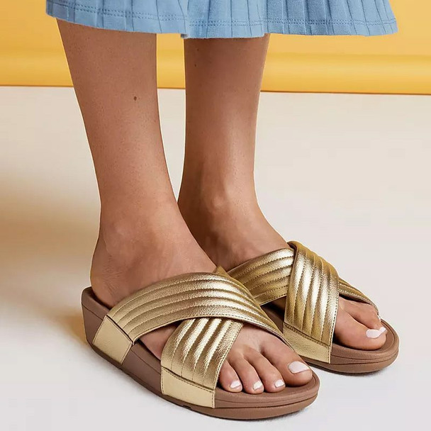 FitFlop™ Lulu Padded Metallic Cross Sandals Gold side