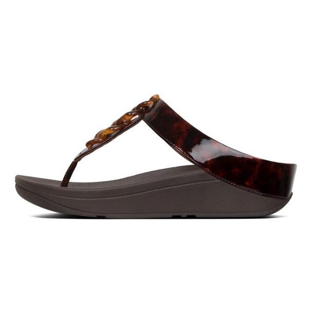FitFlop™ Fino Turtle Shell Chocolate Brown Side View