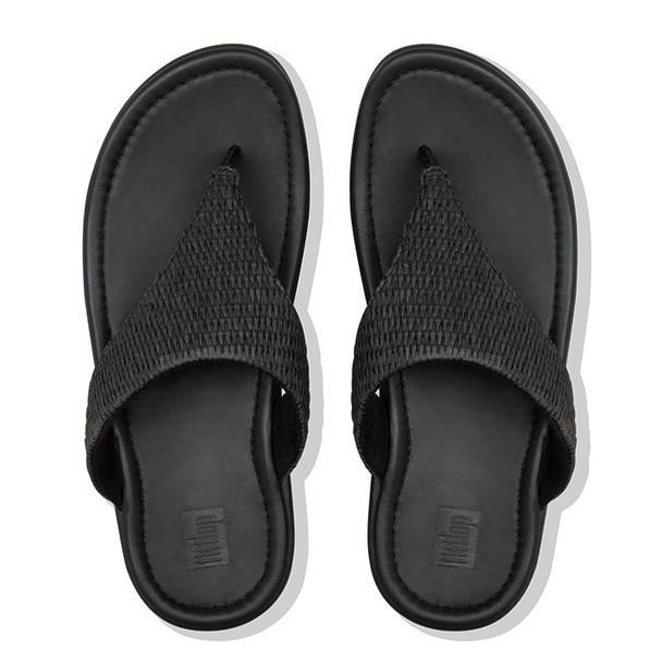 FitFlop Imogen Basket-Weave Toe-Post All Black top