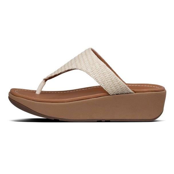 FitFlop Imogen Basket-Weave Toe-Post Stone side