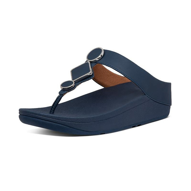 FitFlop Leia Leather Toe-Post Navy