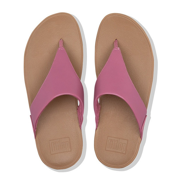 FitFlop Lulu Leather Toe-Post Heather Pink top