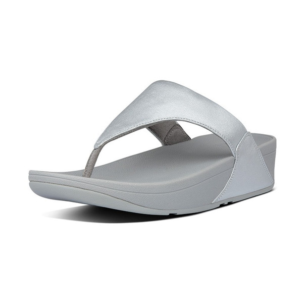 FitFlop Lulu Leather Toe-Post Silver