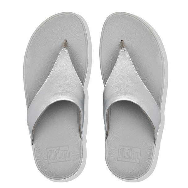 FitFlop Lulu Leather Toe-Post Silver top