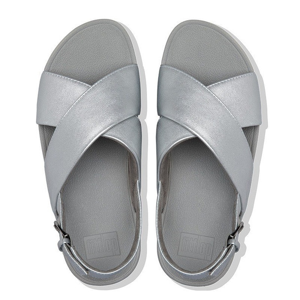 FitFlop Lulu Sandals Leather Silver Top