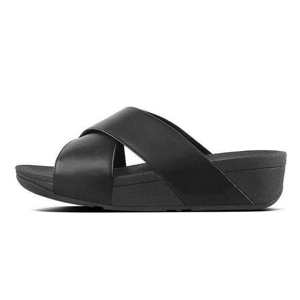 FitFlop Lulu Slide Leather Black size