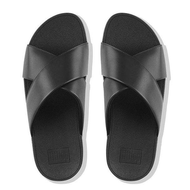 FitFlop Lulu Slide Leather Black top
