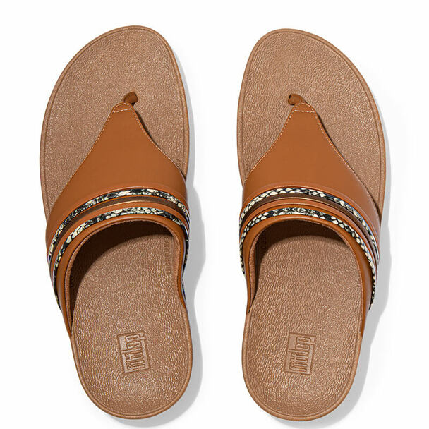 FitFlop Olive Snake Trim Toe Post Tan Top