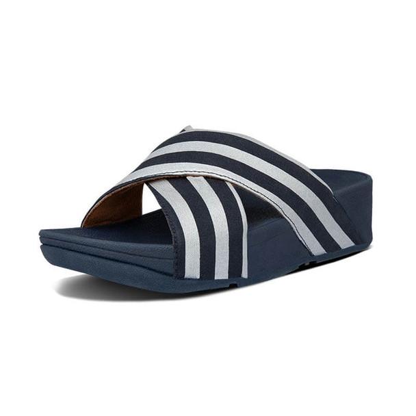 FitFlop Lulu Metallic Stripe Slide Navy
