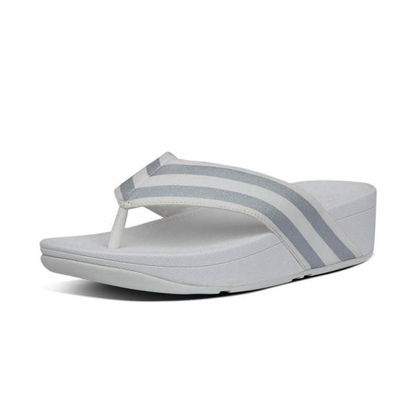 FitFlop Millie Metallic Stripe Toe Post White