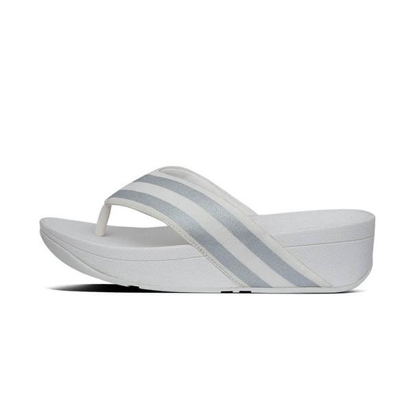 FitFlop Millie Metallic Stripe Toe Post White Side