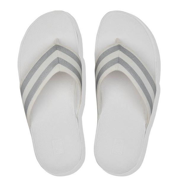FitFlop Millie Metallic Stripe Toe Post White Top