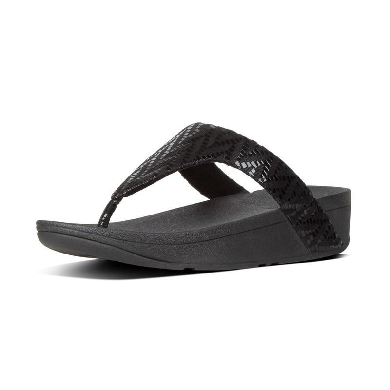 2e3dcc9c819a FitFlop™ Lottie Chevron Toe-Thongs Black