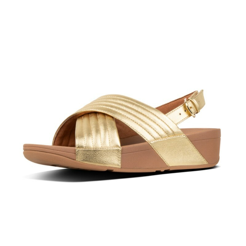 29d1ab681aa4e1 FitFlop™ Lulu Padded Metallic Cross Sandals Gold