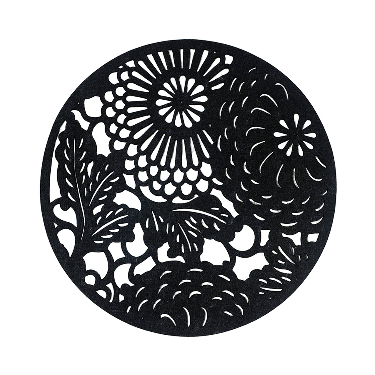 Floral Placemat - Round Black 4 piece set