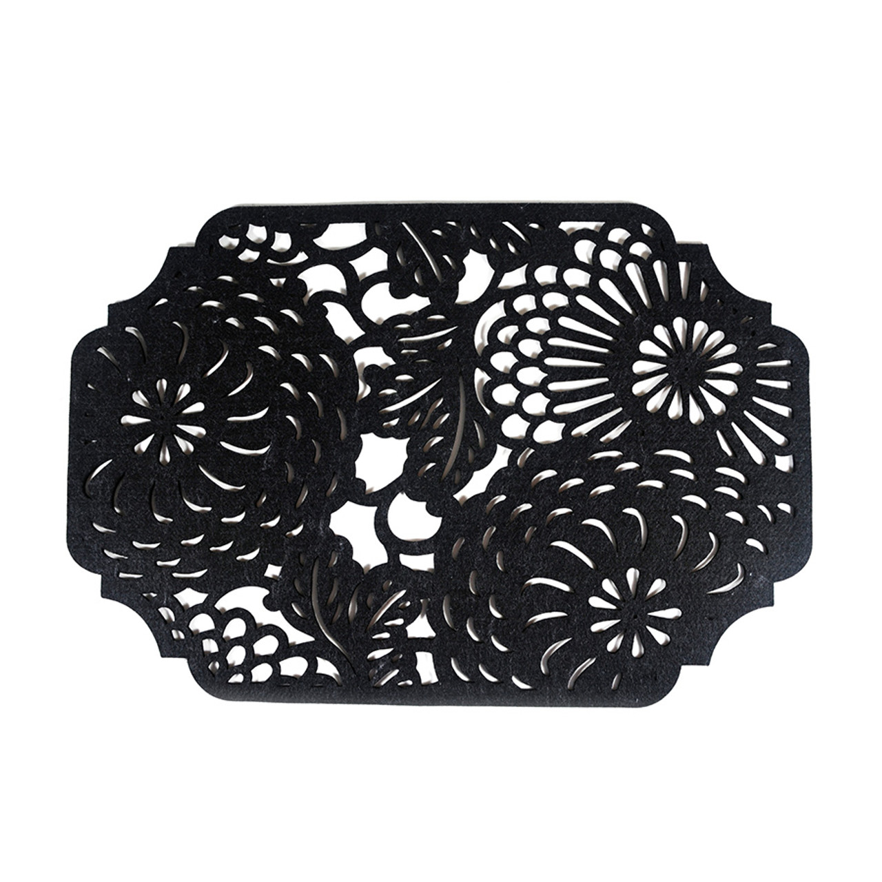 Floral Placemat - Rectangular Black 4 piece set