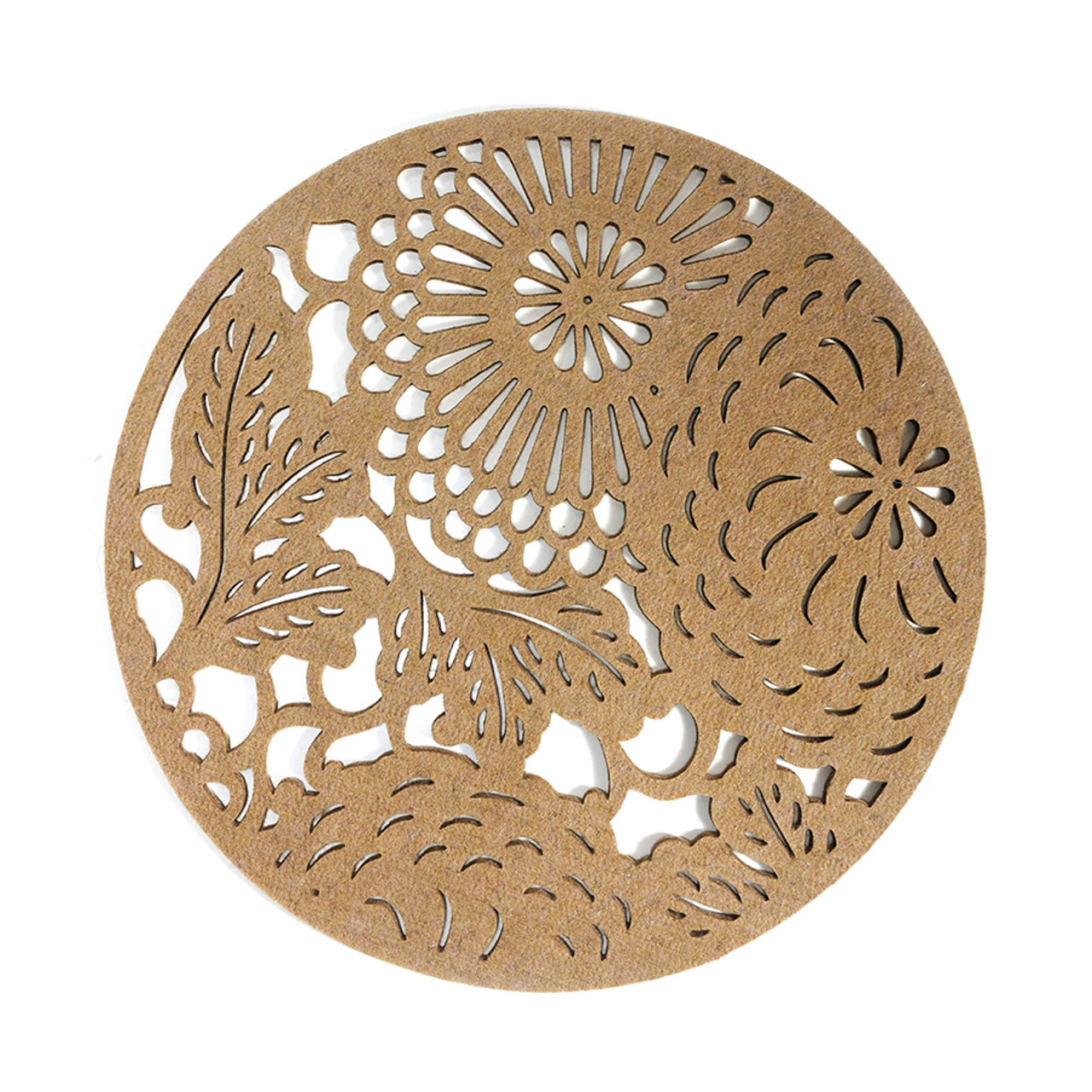 Floral Placemat - Round Taupe 4 piece set
