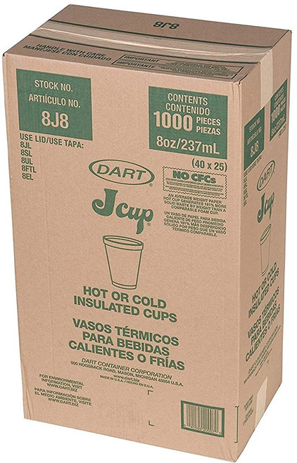 8oz  Dart Styrofoam Cups 1000/cs - #8J8