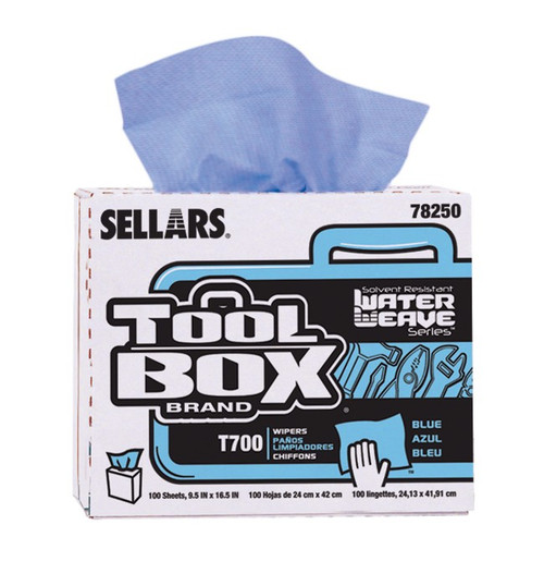 TOOLBOX® T700 WaterWeave™ Blue Interfold Wipers - #78250