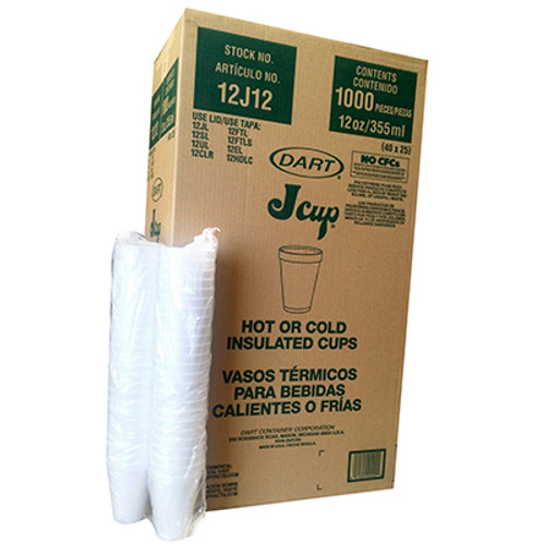 12oz  Styrofoam Cups - 1000/CS - #12J12