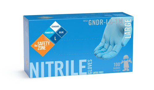 Powdered Blue 4 mil Nitrile Gloves