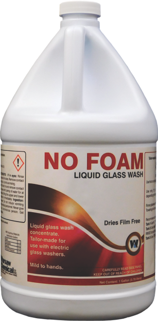 No Foam Glass Wash Liquid - Designed For Electric Brushes - 4 gallons/cs