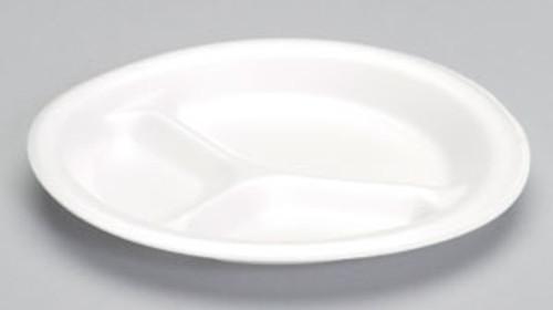 "Genpak Celebrity 9"" White 3-Compt Non Laminated Foam Plate - 500/cs - #83900"