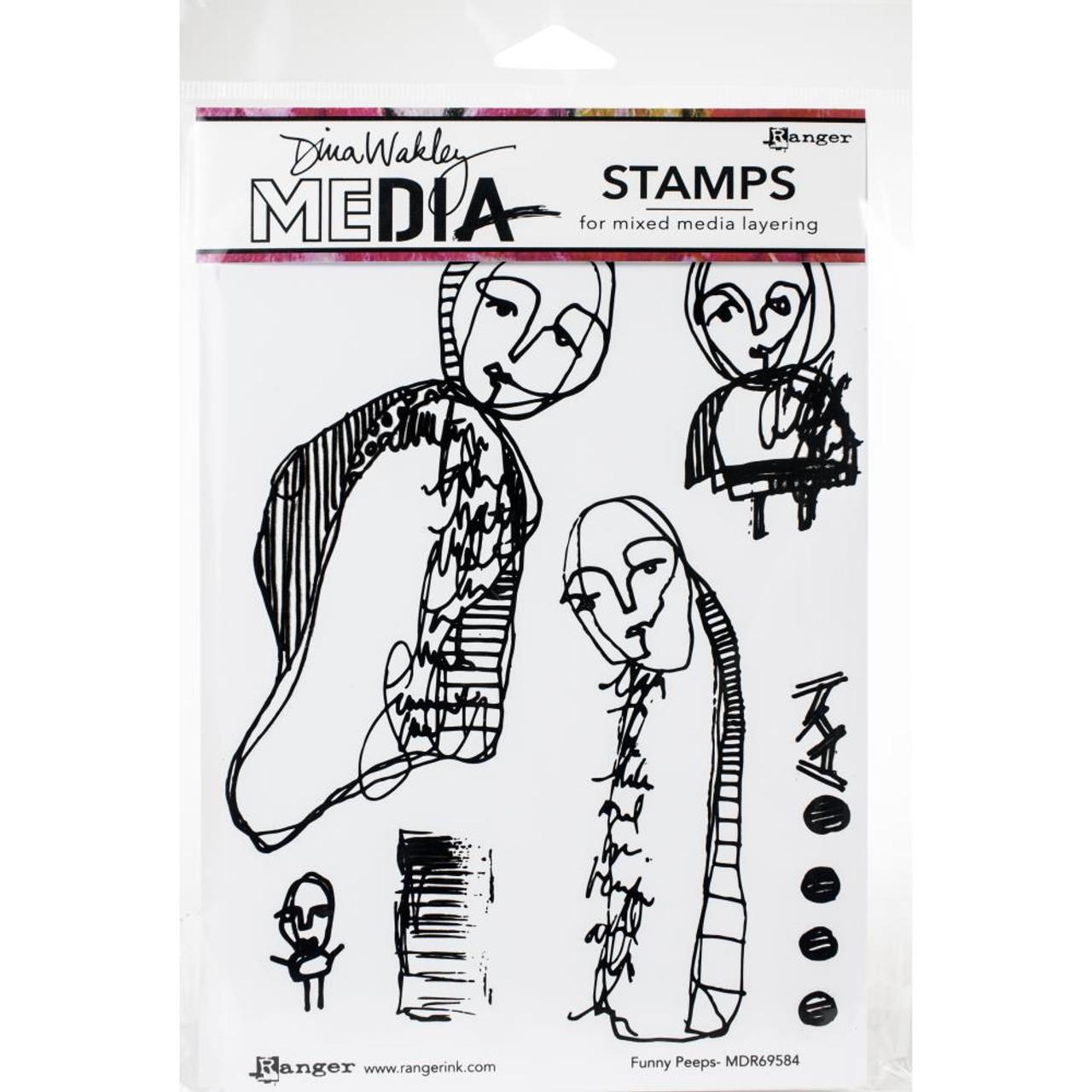 Ranger MDR60994 Interesting Faces Dina Wakley Media Cling Stamps 6X9
